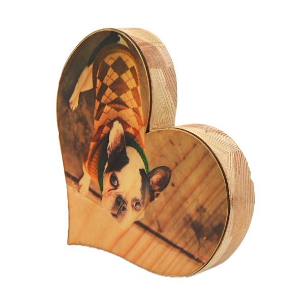 בלוק עץ טבעי לב בעיצוב אישי