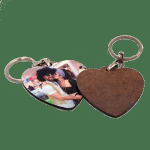 מחזיק מפתחות עץ חד צדדי לב