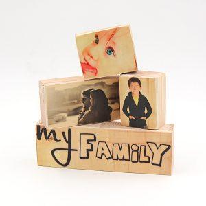 הדפסת תמונות על סט רביעיית בלוקים מעץ