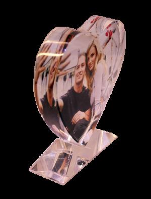 הדפסת תמונה על גביש זכוכית לב